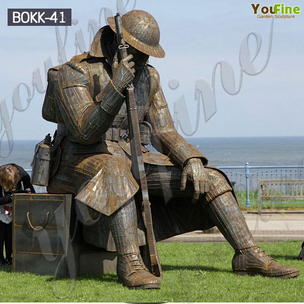 Veterans Day Life Size Bronze Sitting Soldier Statue Monument BOKK-41