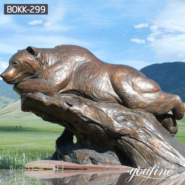 Bronze Lying Life Size Bear Statue Garden for Sale BOKK-299
