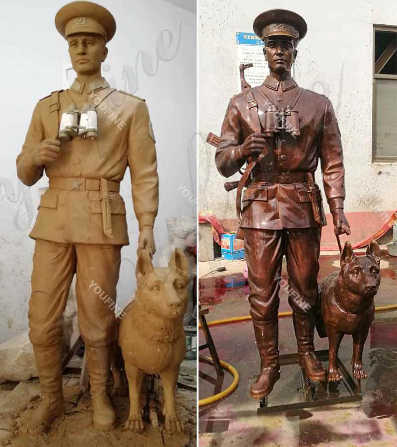 Casting Custom Bronze Soldier Dog sculpture Monument for Sale