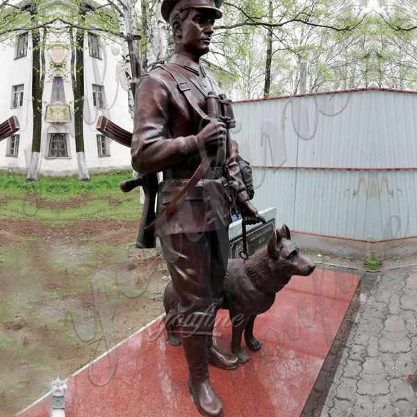 Custom Bronze Soldier statue with Dog Monument for Sale BOKK-439