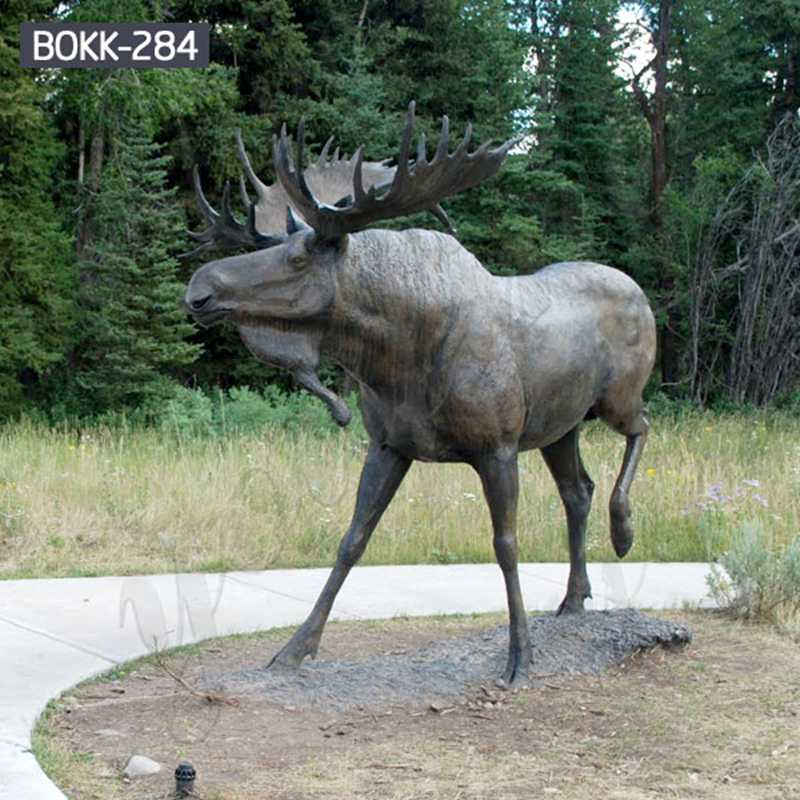 Large Bronze Moose Statue Outdoor Yard Decor for Sale