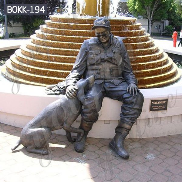 Life Size Military Bronze Soldier and Dog Sculpture Monument for Sale BOKK-194