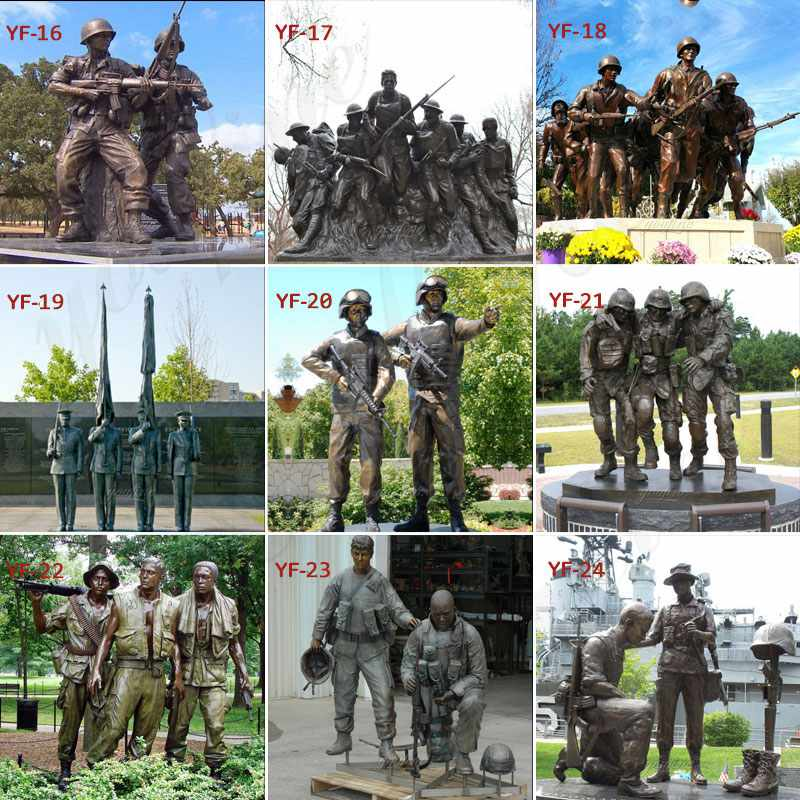 Custom Made Casting Bronze Memorial War Soldier Statue for