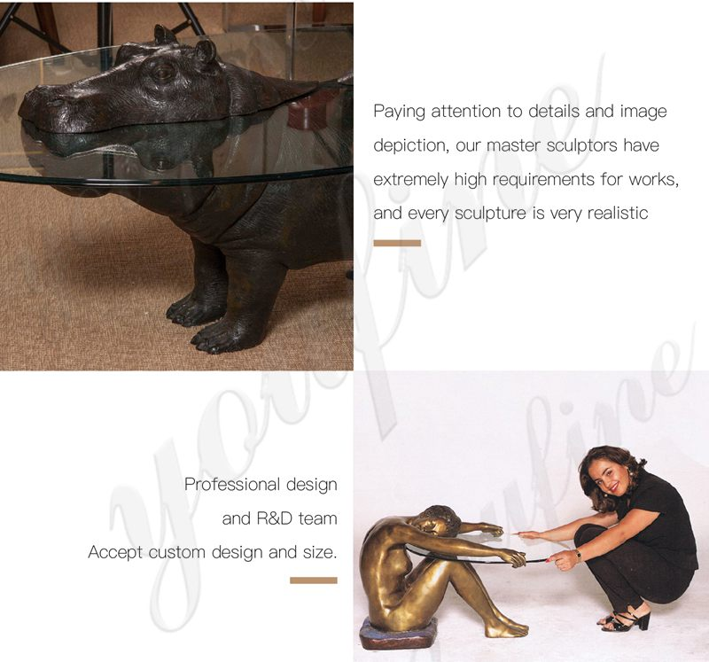 Decoration Bronze Mermaid Statue Coffee Table for Sale BOKK-332