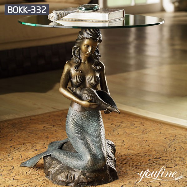Bronze Coffee Table Mermaid Statue Home Office for Sale BOKK-332