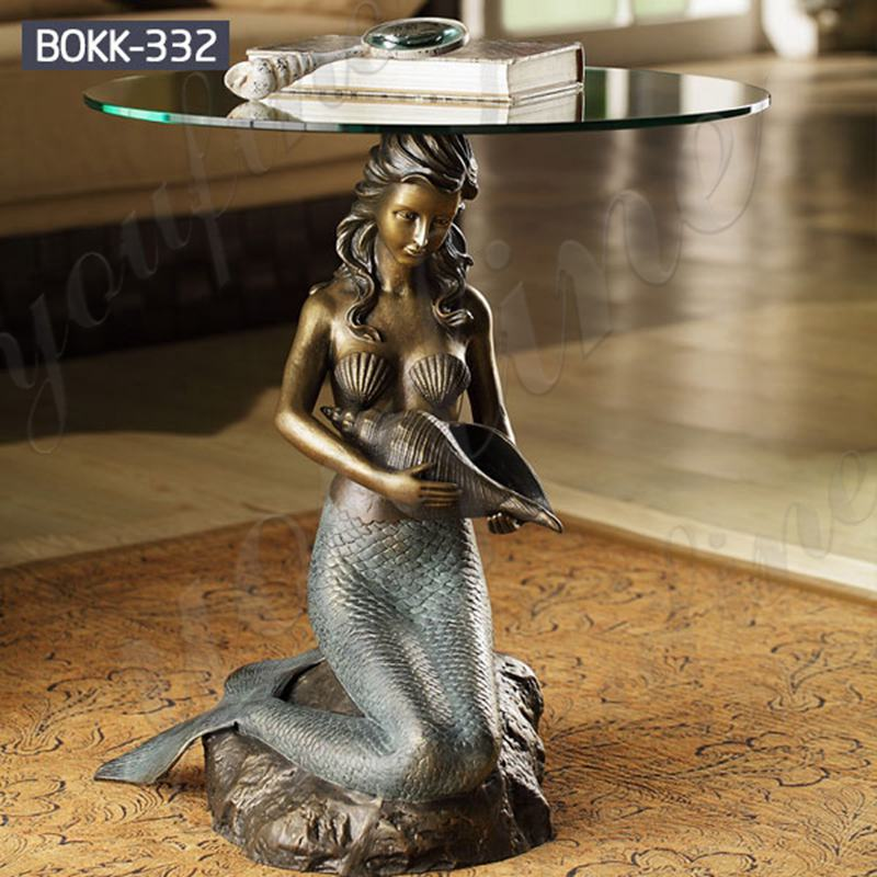 Home Decoration Bronze Mermaid Statue Coffee Table for Sale