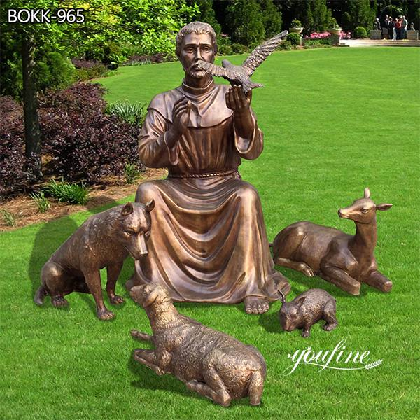 Catholic Bronze St Francis of Assisi and Animal Statue for Sale BOKK-965