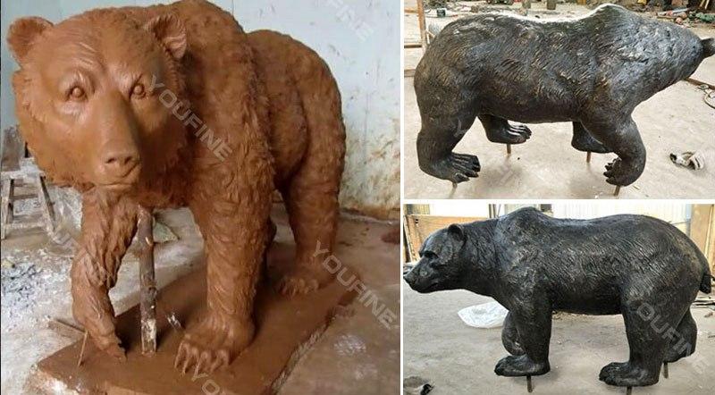Life Size Bronze Bear and Figure Statue Zoo Decoration Supplier BOKK-294