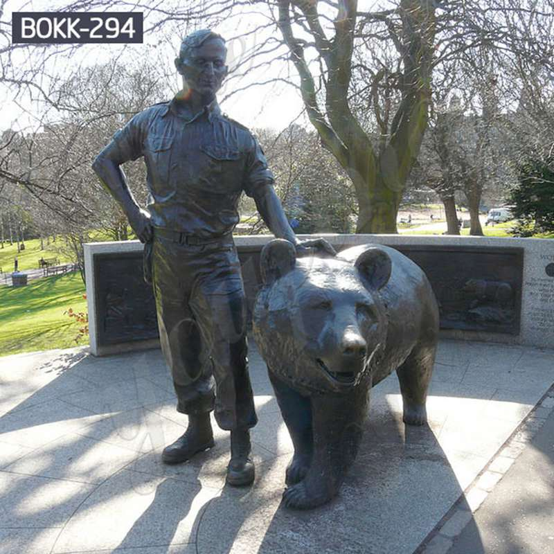 Life Size Bronze Bear and Figure Statue Zoo Decoration