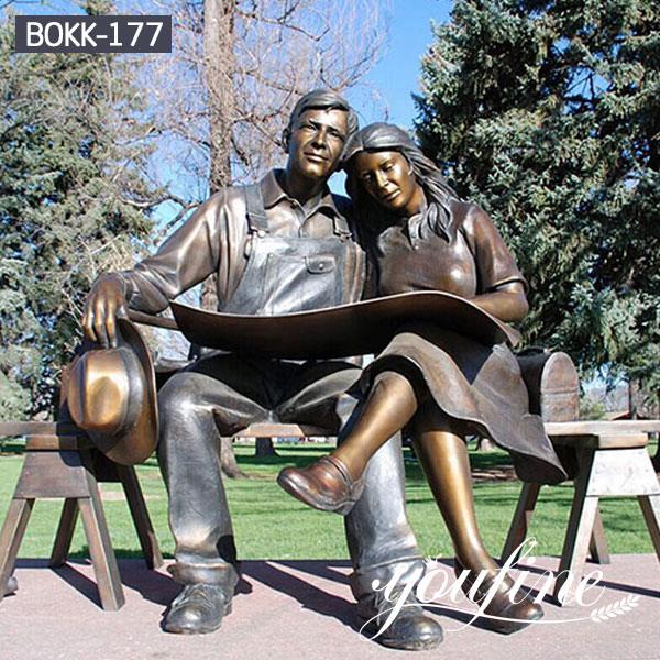 Life Size Bronze Couple Statue Reading Newspaper for Sale BOKK-177