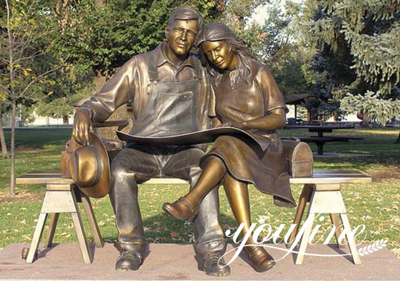 Life Size Bronze Lover Statue Reading New