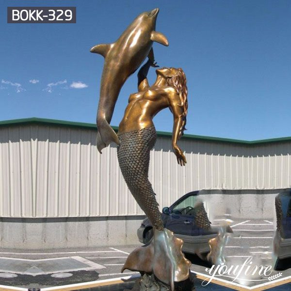 Beach Decoration Bronze Mermaid Statue with Dolphin for Sale BOKK-329